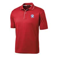 STAFF - Men's Dri-Mesh Polo - Red with White Piping